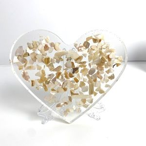 Handmade Resin Heart Shaped Crushed Shells Tray